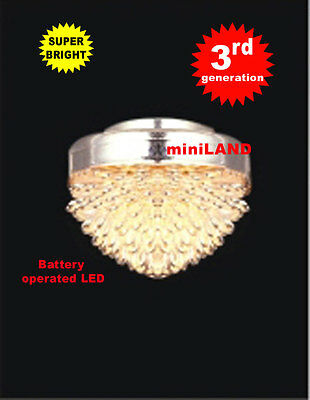 Ceiling chrome SUPER bright battery operated LED LAMP Dollhouse miniature light