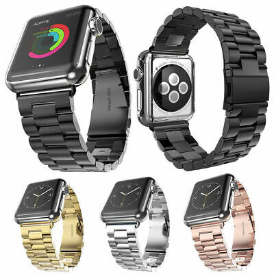 Stainless Steel Strap Watch Band Clasp For Apple Watch Series 1234 38/40/42/44mm