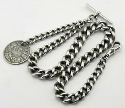 Antique Solid Silver Graduated Albert Watch Chain, 58.3gr, Birm 1906, By HP.