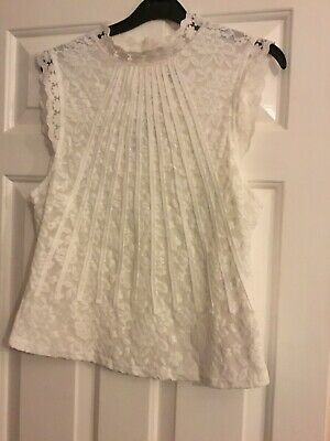 d46ad5242e3206 MONTEAU WOMENS LACE Top size M Halter Sleeveless High Neck ...