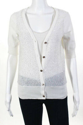 46712be341737 Minnie Rose White Silver Cotton Sequined Short Sleeve Button Cardigan Size  Mediu