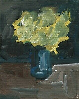 416.Yellow Carnations in Vase Still Life Original Oil Painting Floral AMAZINGART