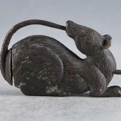 Exquisite Collectibles Chinese Old Style Brass Handmade Mouse Lock With Key