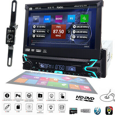 "HD Sony lens Single 1Din 7""Car Stereo Radio DVD Player GPS SD Bluetooth CD Map"