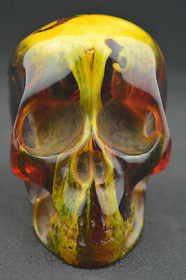 Exquisite China Collectibles Old Amber Statue Carving Skull Decoration Rt