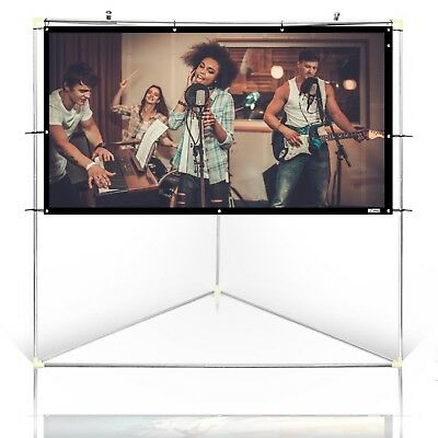 "Pyle 84"" Outdoor Portable White Theater TV Projector Screen w/ Triangle Stand"