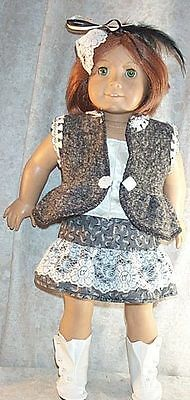 "Doll Clothes Made 2 Fit American Girl 18"" inch SteamPunk 4 pcs Gray Ivory"