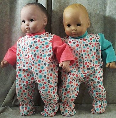 """Doll Clothes Baby Made 2Fit American Girl Boy 15"""" inch Twins Pajamas Bitty Dots"""