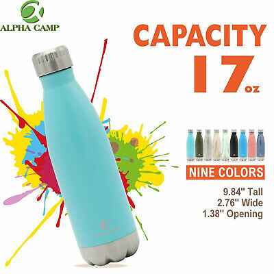 ALPHA CAMP 17oz Water Bottle Stainless Steel Cooler Vacuum Insulated Tumbler