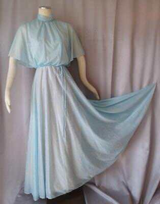 BOHO BATWING BLUE FLORAL Vintage 1970s ROMANTIC DRAPED MAXI DRESS - SM