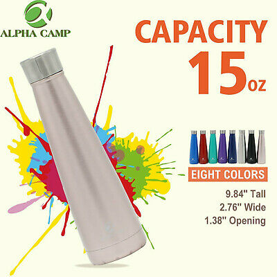 ALPHA CAMP 15oz Water Bottle Stainless Steel Cooler Vacuum Insulated Tumbler
