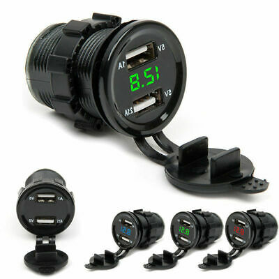 12V/24 Dual USB Port Car Cigarette Lighter Socket Plug LED Voltmeter Waterproof