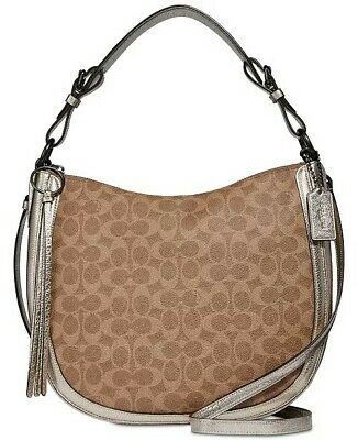 49bfdd7794e1 🌹🌹COACH Sutton Signature Coated Canvas Snakeskin Detail Hobo Bag  Tan Platinum