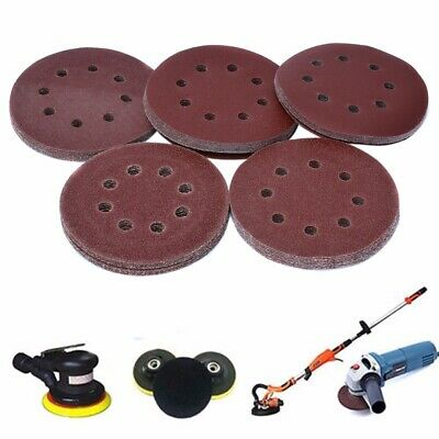 50Pcs 125mm Sandpaper Sanding Disc 40 60 80 120 240 Grit Paper 8 Holes Tool