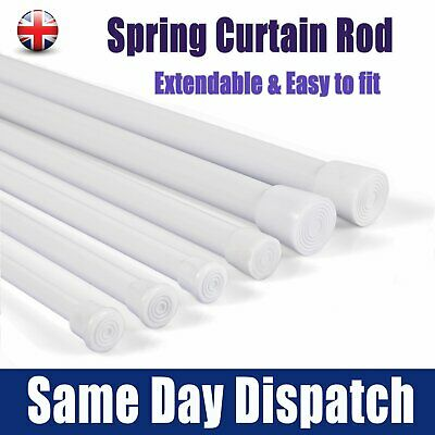 UK Spring Load Extendable Telescopic Net Voile Tension Curtain Rail Pole Rod