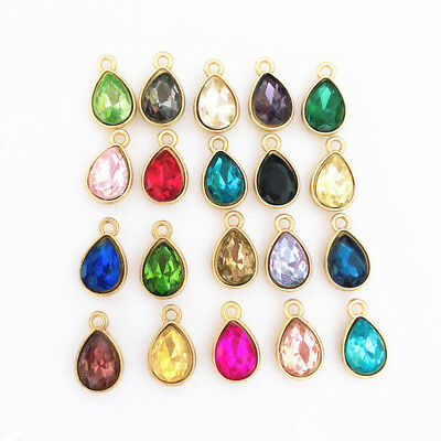 5pcs Gold/silver waterdrop Charm Crystal Pendant beaded Jewelry Findings