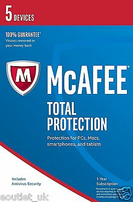 McAfee Total Protection 2019 5 Users/PC Internet Security Windows 10 & Mac NEW