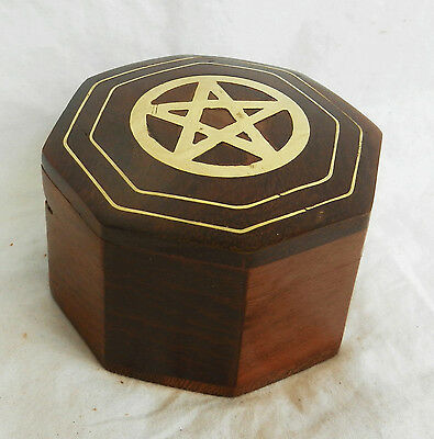 Octagonal Wooden Box with Brass Pentagram / Star Inlaid Decoration - BNIB
