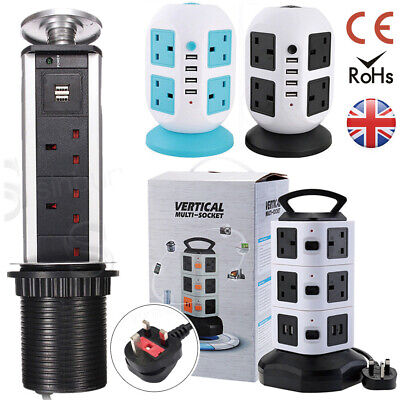 Switched Surge Protected Extension Lead UK Plug Tower Multi Socket 4 USB Port