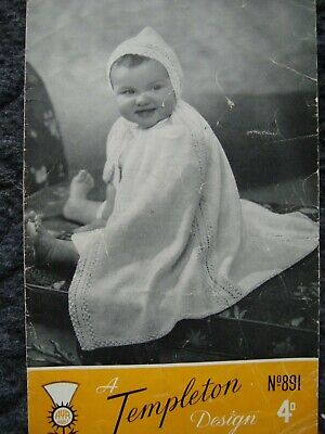 Templeton 891 Baby's Carrying Cape 3 Ply Vintage Knitting Pattern