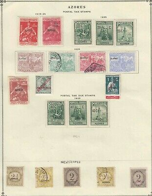 Portugal Azores 2 Album Pages Collection Lot Back Of Book Many Identified $$$$$