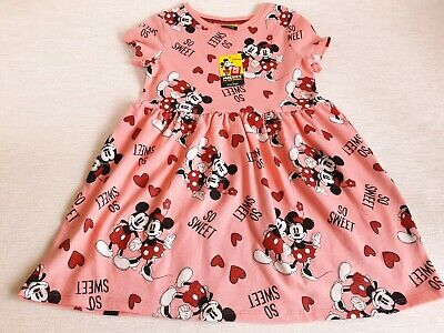 DISNEY Mickey and Minnie Mouse Print Pink Dress Age 2-3 Brand New at George