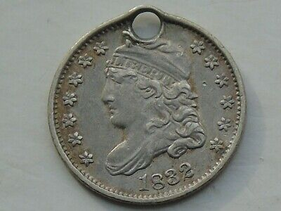 USA Capped Bust Half Dime 1832, High Detail, holed, unusual variety