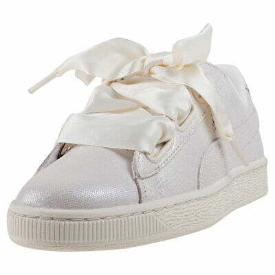 PUMA BASKET HEART Ns Womens White Leather & Suede Casual