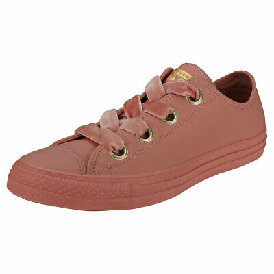 a678cbc34df Converse Ctas Big Eyelets Ox Womens Blush Pink Leather Casual Trainers