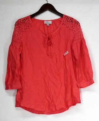 bdf2474468e OSO Casuals Sz S 3/4 Sleeved Tie Neck Lace Detail Peasant Coral Pink Top