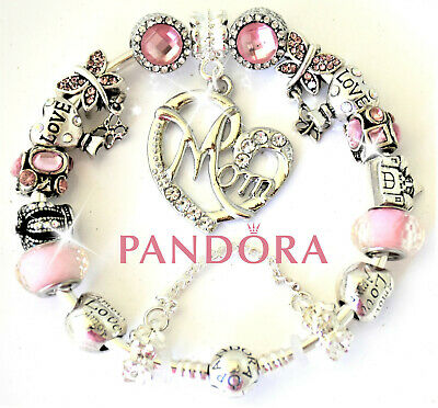 Authentic Pandora Bracelet Silver MOM MOTHER DAY Pink LOVE European Charms New