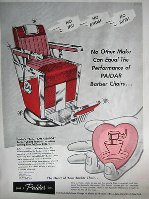 Vintage 1949 Paidar Barbershop Chair Photo Sign Ads