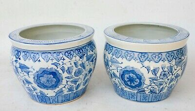 PAIR (2) of BLUE / WHITE Ceramic Chinese Hand painted Planter Bowls