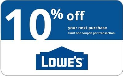 Lowes 10% OFF InStore and Online1Coupon Lowe's---Fastest Delivery EXP 7 days