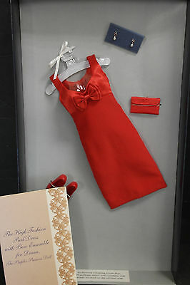 "Franklin Mint Princess Diana Vinyl Doll 16"" Red Dress With Bow Ensemble With COA"