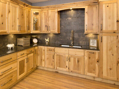 Country Hickory Shaker Kitchen Cabinets-Sample-RTA-All wood, in stock