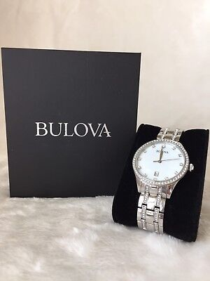 Bulova Watch for Women with Mother of Pearl Dial and Crystal Accents 96M144