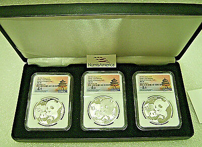 2019 (S) (Y) (G) China Panda Silver 3 Mint Coin Set  NGC MS70 FR Tong Fang Sig.