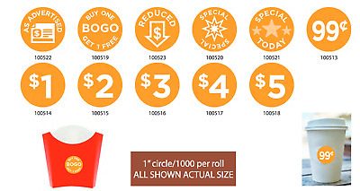 """Preprinted Price Labels .625"""" x 1.25""""//1000 per roll Store Stickers BUY SEVERAL"""