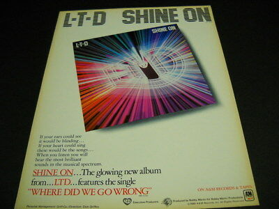 LTD glowing new album SHINE ON original 1980 PROMO POSTER AD mint condition