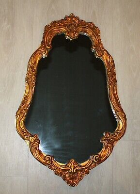 Vintage 1971 Coppery Gold Gesso Wood Mirror 30 x 20 Ornate Hollywood Regency
