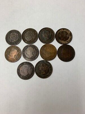 Lot Of 10 1859 Canada Large One Cent Mixed Grades