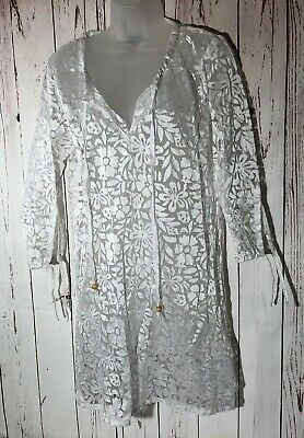 cf6c32bb93fe4 Angel Touch Swimsuit Cover Up Lace Floral Print White Sheer Beach Summer  Dress