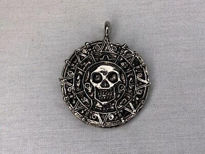 Pirates of The Caribbean, Cursed Aztec Coin Pendant, Solid Metal, Silver