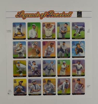 Us Scott 3408 Pane Of 20 Legends Of Baseball 33 Cents Face Mnh
