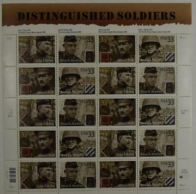 Us Scott 3393 - 3396 Pane Of 20 Distinguished Soldiers 33 Cents Face Mnh