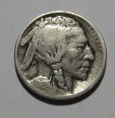 1913 S Type 1 (Raised Ground) Buffalo Nickel - VG to Fine Condition - 93FR