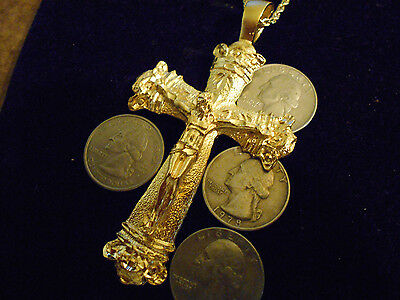 bling gold plated JESUS cross crucifix PENDANT charm hip hop necklace JEWELRY GP
