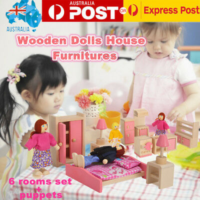 Pink Wooden Doll House Furniture Kit Set 6 rooms with family puppet for gift AUS