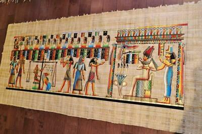"XXXL Huge Signed Handmade Papyrus Egyptian Judgment Day Painting..71""x32"" Inches"